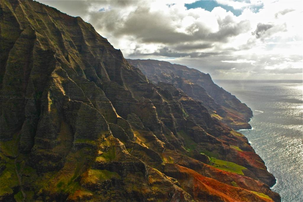 SUNSETS AND SILVERY SEAS ON THE NAPALI COAST-AERIAL