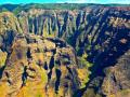 NA PALI COAST CANYONS - KAUAI - MULTIPLE ERODED FACES LOOK HAUNTINGLY UP!