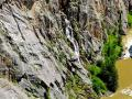DOWN INTO CLARK CANYON AND SIDE WATERFALL - AERIAL - ROCK CLIMBERS LOVE AND TRAIN IN THIS AREA