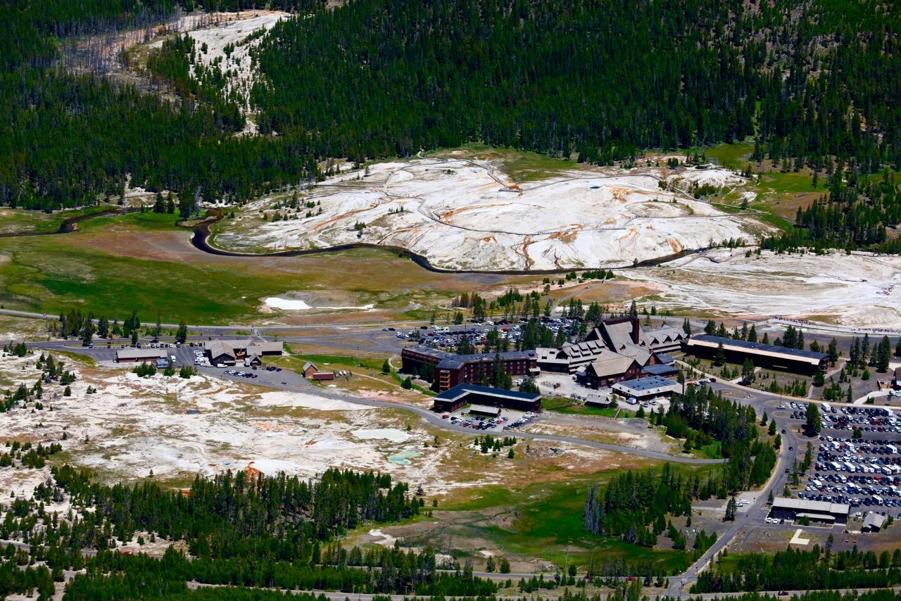 "MONDAY FLY OVER OF ""OLD FAITHFUL"" INN AREA IN YELLOWSTONE NATIONAL PARK -BEFORE ANYTHING STARTS TO BE WORRISOME IN YELLOWSTONE, MAGMA WOULD HAVE TO BREAK THE SURFACE IN NORRIS GEYSER BASIN,ALSO ROAD BLOCKS AND BARRIERS WOULD BE UP!"