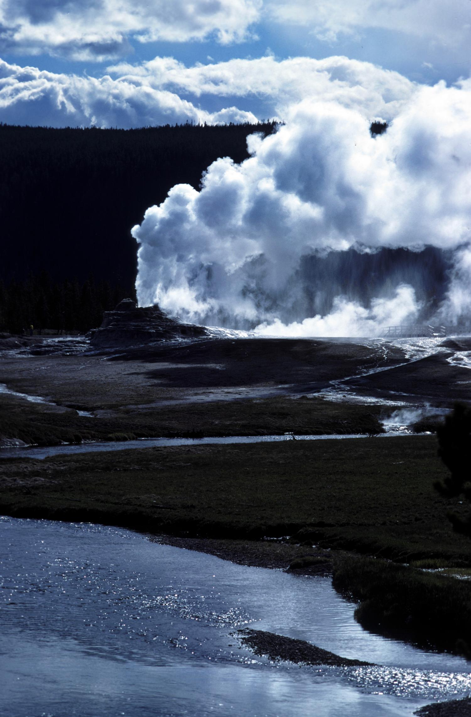 THIS PHOTO OF 'CASTLE GEYSER'  WAS TAKEN OVER 30 YEARS AGO IN YELLOWSTONE PARK - THE GEYSER PRESSURE HAS LOWERED DRAMATICALLY ALONG WITH  'OLD (LESS) FAITHFUL GEYSER' ALSO