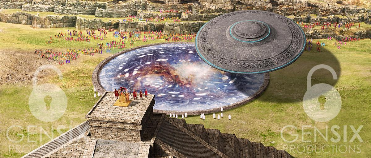 """INCAN EMPIRE -""""SAKSAYWAMA PERU""""-ONE OF THE LARGEST STARGATES  ON EARTH- FLYING SAUCER BASED ON MODEL IN PARK AT """"AGUAS CALIENTES"""", AT THE BASE OF MACHU PICCHU"""