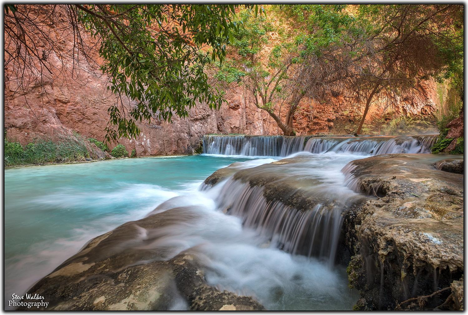 """HAVASUPAI PARK""-- MOONY FALLS AREA OF GRAND CANYON - THE  WATER COLOR AND THE COMPOSITION OF THIS SHOT IS OUTSTANDING"