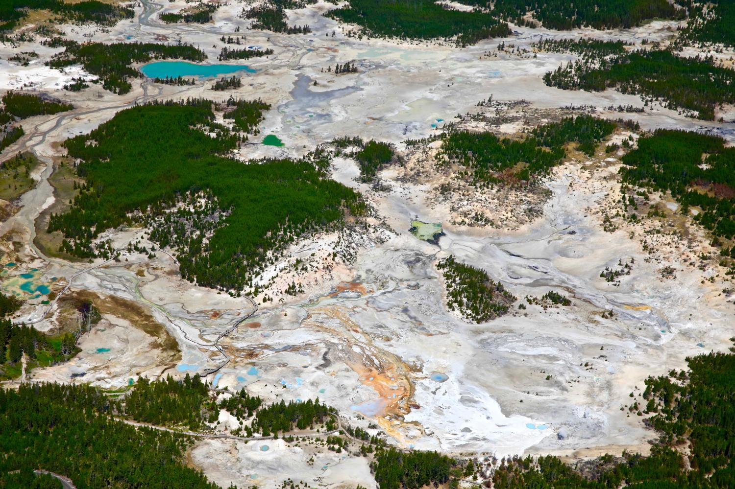 NORRIS GEYSER BASIN IN YELLOWSTONE PARK IS THE MOST ACTIVE GEO-THERMAL AREA IN THE PARK-I MONITOR THIS AREA AS THE FIRST PLACE I GO EVERY TIME I FLY OVER THE PARK-THIS IS THE AREA WHERE MAGMA WOULD BREAK THROUGH FIRST IF THERE WAS A MAGMA EVENT