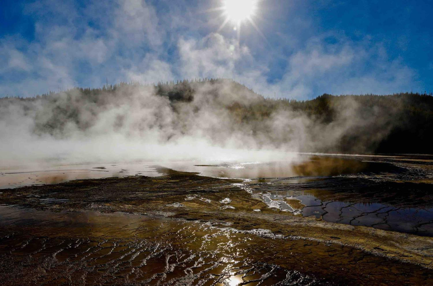 """""""NORRIS GEYSER BASIN""""-BACKLIT BACTERIAL MATS AND GEYSER POOLS - YELLOWSTONE PARK"""